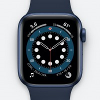 Apple Series 6 Silicone Watch with GPS and Blood Oxygen Sensor, 44 mm - Navy blue