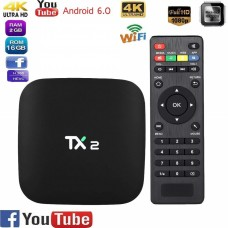 TX2 Smart Android 6.0 Smart Tv Box 2GB RAM 16GB ROM 2.4GHz WiFi 4K H.265 DLNA AirPlay 4K Smart TV Box TX2 R2