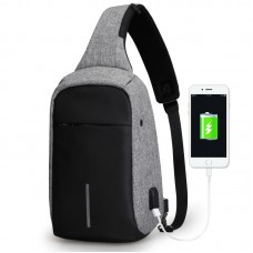 Anti Theft USB Charging Sport Cell Phone Sling Crossbody Shoulder Bag (Gray )